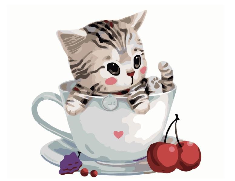 Котик в чашке - GX8396