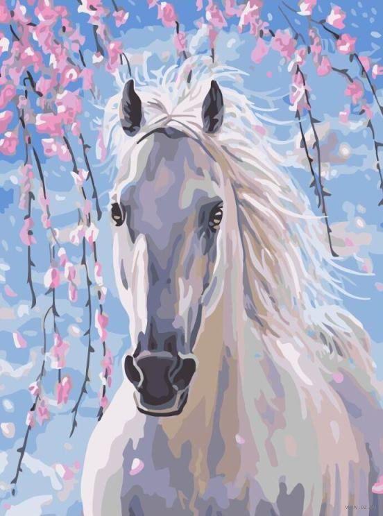 Лошадь в цветах сакуры - GX8528