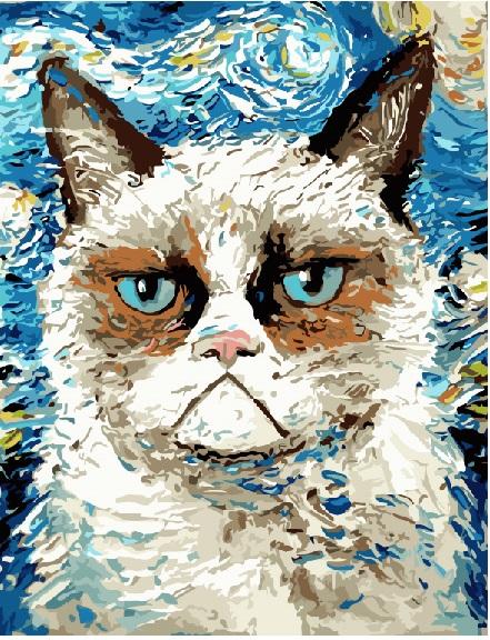 Сердитый кот в стиле Ван гога - GX8093