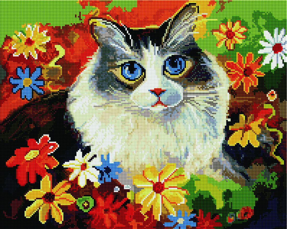 Купить картину: Кошка в цветах, GF1367 | Brushme — Картины ...
